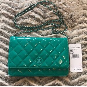 Chanel teal patent wallet on a chain